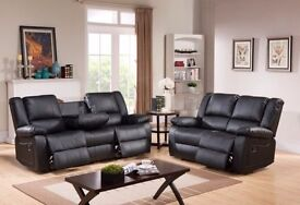 BRAND NEW 3 AND 2 SEATER LEATHER RECLINER SOFA