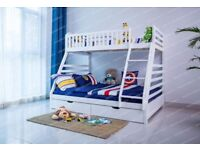 White Wooden Triple Bunk Bed - Children's Bed with 2 draws