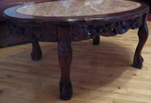 Set of four mahogany/marble tables