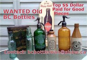 Wanted Old BC Bottles, Advertising Signs, Tins