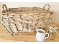 Large Wicker Log Basket Rustic Farmhouse Style