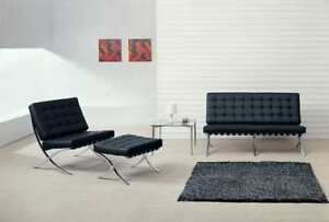 Practical, comfy Barcelona Chair in Black/White Leatherette and