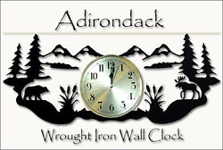 Adiriondack Scene Clock Wrought Iron Wall Decor