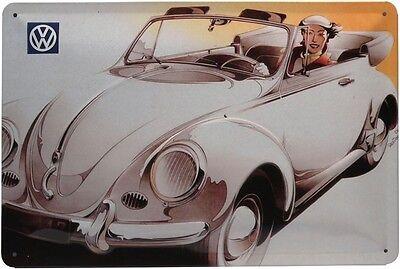 VW Käfer Cabriolet Auto Car Retro geprägt Blechschild 20x30 cm Metallschild 265
