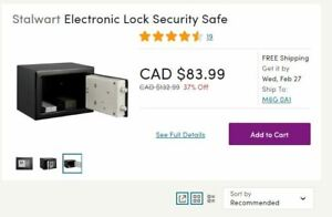 Stalwart Electronic Lock Security Safe - Brand New in Box