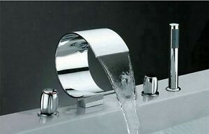 Waterfall-5-Pcs-Bath-Tub-Sink-Chrome-Faucet-With-Hand-Held-Shower-Set-L-423