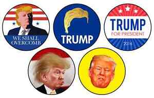 10 Trump & Clinton Pinback Buttons : NEW : Never Used