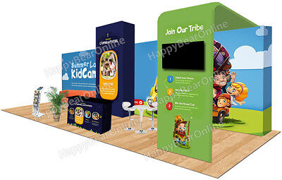 Trade Show Waveline Pop-up 30ft X 10ft Fabric Exhibition Booth Xy-02