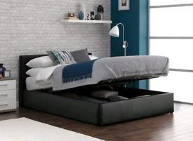 Black Yardley Faux Leather Ottoman Bed - Double Bed