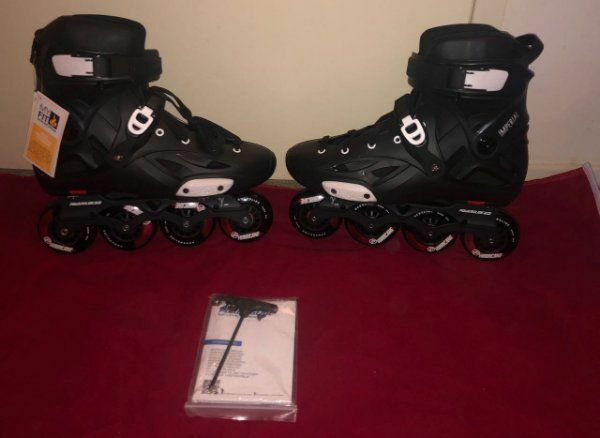 Powerslide Imperial One Black Crimson Inline Skates Rolerblade 11-12 NEW