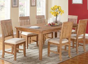 new 7pc whistler distressed natural finish birch wood dining table set