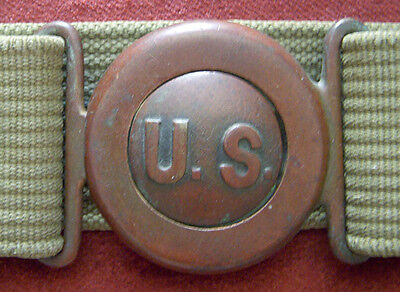 Great Early 1900s Mills Belt with Interlocking US Buckle and Artillery Markings