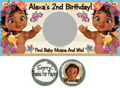 10 Baby Moana Birthday Party Shower Scratch Off Game Cards Tickets Favors Ocean