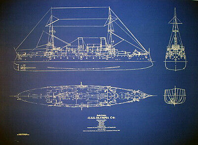 "USN Cruiser USS Olympia C-6 1895 Blueprint Plan Drawing Print 22""x32"" (052)"