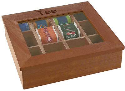 Teebox Teespender Multibox Portionsspender Teedose 31 x 28 x 9 cm Holz dunkel