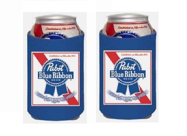 PABST BLUE RIBBON PBR 2 BEER CAN WRAP COOLERS KOOZIE COOLIE HUGGIE NEW