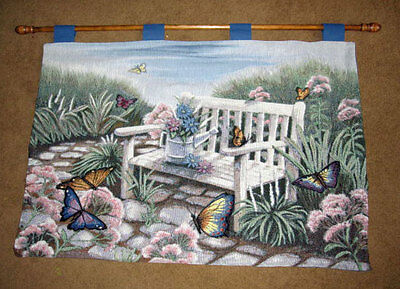 Butterfly Tapestry Wall Hanging - Butterfly Botanical Cobblestone Path & White Bench Tapestry Wall Hanging