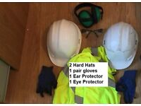 Building Site Safety Kit:2 Hard Hats, Safety Goggles, Ear Protectors, Gloves, hi vis jackets