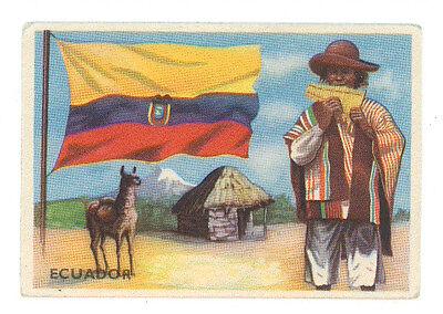 FIGURINA SIDAM ECUADOR 71 BANDIERE E PAESI DEL MONDO ANNI '50