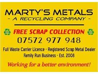 FREE Scrap Metal Collection & FREE Rubbish Clearnce Quotes Marty,s Metals A Reclying Company