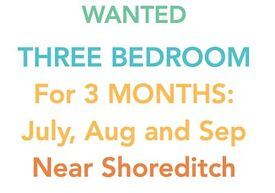 Looking for: 3 bedroom near Shoreditch for July, August and September ONLY.