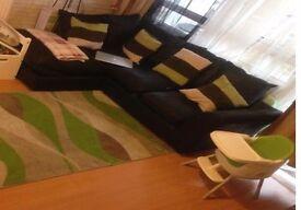 good condition New Alfie Leather Effect Left Hand Corner Sofa - Black