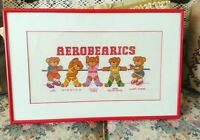 CHILDREN'S Framed CROSS STITCH Picture - TEDDY BEARS EXERCISING