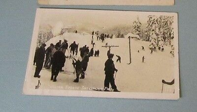 1946 Winter Sports Snoqualmie Pass Washington Rppc Real Photo Postcard Skiing
