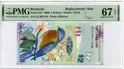 BERMUDA 2 DOLLARS 2009 P 57 B * REPLACEMENT Z/2 SUPERB GEM UNC PMG 67 EPQ