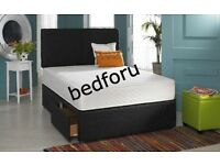 Double 2 Draws Faux Leather bed with orthopedic or memory foam mattress+Free Headboard