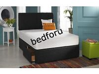 Double Faux leather bed with orthopedic or memory foam matress+2draws +Free Headboard
