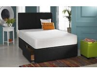 Brand new fabric divan bed mattress and headboard