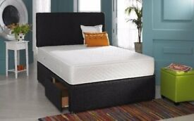 SAME DAY LONDON DELIVERY -DOUBLE BLACK DIVAN BASE WITH MEMORY FOAM ORTHOPEDIC MATTRESS ONLY £139