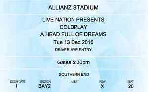 2xColdplay Gold Reserve Seating Allianz Std Sydney 13 Dec 16 Cremorne North Sydney Area Preview