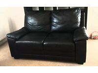BLACK LEATHER 2 SEATER ARMCHAIR - IMMACULATE CONDITION FROM PET & SMOKE FREE HOME