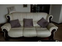 3 Seat leather sofa with matching single seat chair. *FREE*