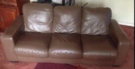 Brown Leather Sofa 3 & 2 Seater Suites and small footstall