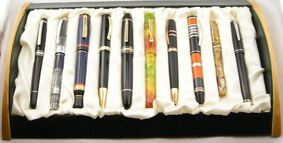 10-Pen Display & Storage Pen Display Tray With Wood Ends - NEW!