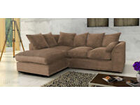 PORTO JUMBO CORD CORNER SOFA, SETTEE, FULL CHENILLE CORD FABRIC GREY 3 AND 2