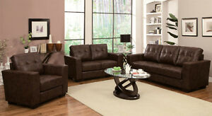 NEW!  Tufted Bonded Leather Sofa Set in Brown or White!