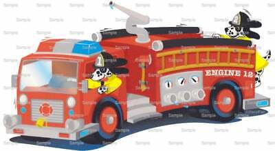 Fire Truck Cupcakes (Red Fire Truck Birthday ~ Edible 2D Fondant Cake Cupcake Topper ~ D746)