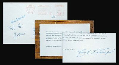 1984 Signatur Autograph Privatdruck Jünger Ernst Signierte Dankeskarte