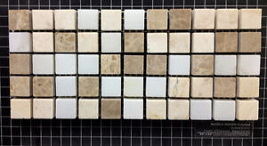 5/8'' Emperador Light, Cream, Bianco Carrara Marble Mix Mosaic