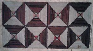 Antique hooked rug, box and X pattern in rag, 1920s, Lunenburg C