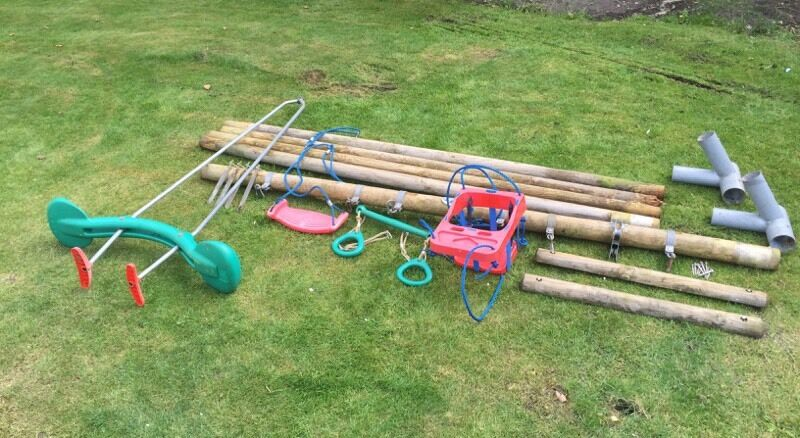 7abf8676b Swing Set- TP triple swing- round wood frame. Farnborough ...