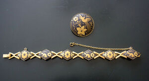 DAMASCENE BRACLET AND BROOCH  FROM TOLEDO SPAIN