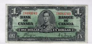 Canada $1 1937 Banknote Billet de banque