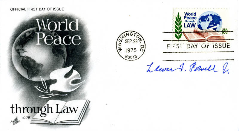 LEWIS F. POWELL JR. - FIRST DAY COVER SIGNED