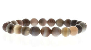 Botswana Agate Round Bead Stretch Bracelet - 8mm