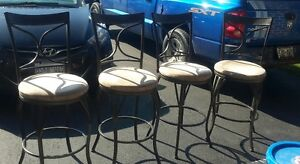 4 counter height  metal padded stools London Ontario image 1